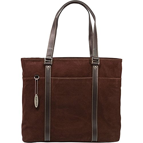 Mobile Edge Ultra Laptop Tote Bag, Chocolate Brown Suede, Fits 16 Inch PC and 17 Inch MacBook, SafetyCell Computer Protection Compartment, for Women, Business, Students METL08 -