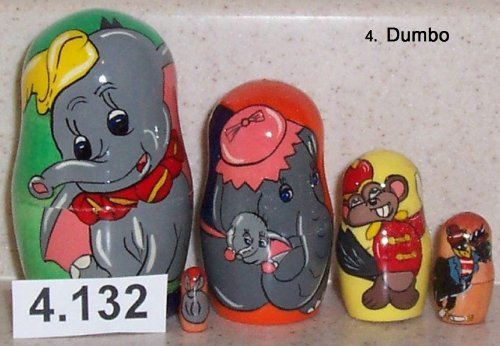 Dumbo * Russian Nesting Doll * 5 pcs / 4 in