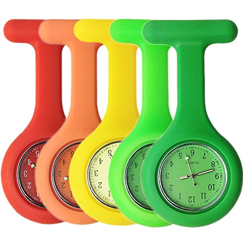 Set of 5 Nurse Watch Brooch, Silicone with Pin/Clip, Glow Pointer in Dark, Infection Control Design, Health Care Nurse Doctor Paramedic Medical Brooch Fob Watch - Orange Yellow Green