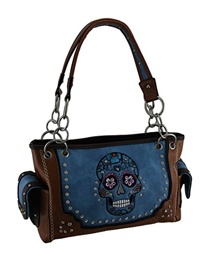 Embroidered Handbag Stitched Concealed Sugar Trim Rhinestone Brown Skull Carry with 66T7Ufqwx