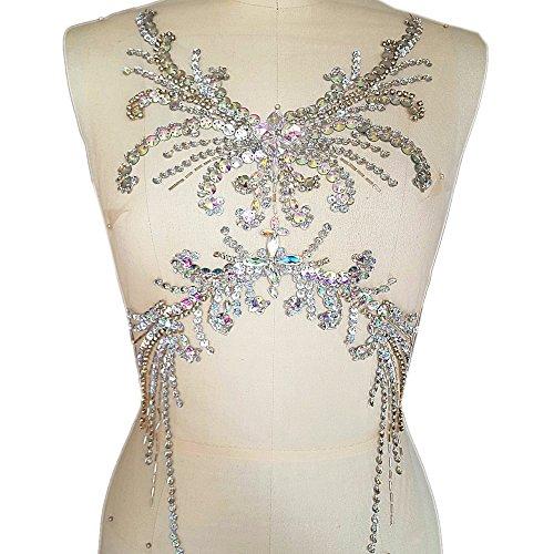 Pure Handmade Sumptuous Exquisite Rhinestones sequins beads Sew on For Dress Delicate Glitter Wedding Applique Trim DIY Accessorie,Chest decoration 28x52cm (ab)
