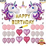 63 PCS Unicorn Balloon Birthday Decoration Set and Cake Toppers - Unicorn Party Supplies - Large Magical Unicorn Foil Balloons, Heart Balloons, Unicorn Headband, Air Pump
