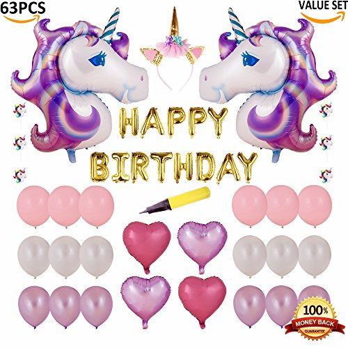 63 PCS Unicorn Balloon Birthday Decoration Set and Cake Toppers - Unicorn Party Supplies - Large Magical Unicorn Foil Balloons, Heart Balloons, Unicorn Headband, Air Pump - Birthday Balloon Set