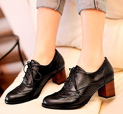 Mid Lace Heels Vintage Ankle Women's Up Toe Stacked Aisun Shoes Dress Black Boots Pointed Oxfords p1RUqY