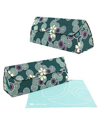 2 PCS SET JAVOedge Fleur Blossom Bundle Set Eyeglass Storage Case With Magnet Closure Bonus Microfiber Cloth