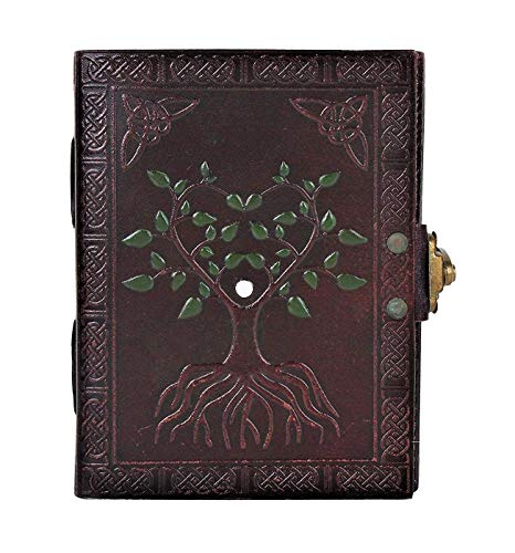 - Hand Painted Tree of Life Leather Journal Diary Notebook Men Women Small Gift for Him Her