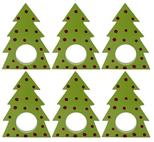 SKAVIJ Handmade Christmas Tree Napkin Rings Set of 6 Wooden for Weddings Dinner Parties or Every Day Use