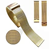 Watch Band, Yoyorule 18/20/22/24mm Stainless Steel Watch Mesh Band Strap Double Clasp Bracelet (Gold, 20mm)