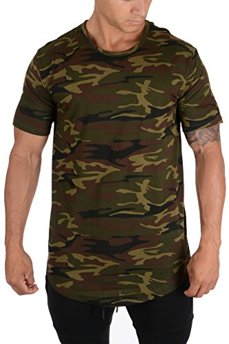 YoungLA Mens Long Cotton T Shirts Lightweight Muscle Tee 401 Cmgrn S Camo Green