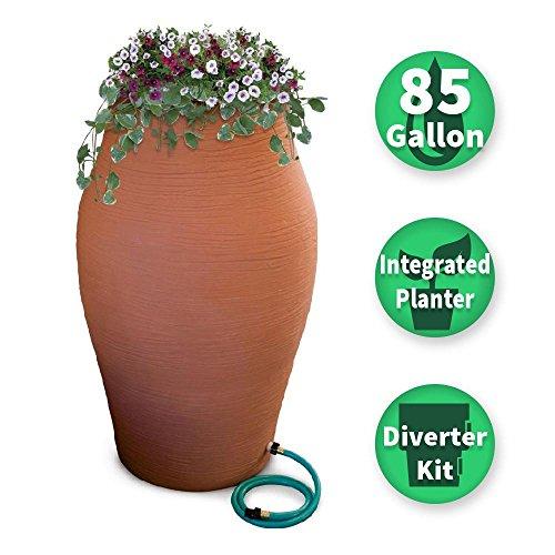 Urn Rain (85 gal. Terra Cotta WaterUrn Decorative Urn Rain Barrel Kit with Integrated Planter)