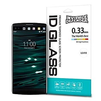 Protector de Pantalla LG V10, Invisible Defender Glass [MAX HD CLARIDAD] LG V10 vidrio protector de ...