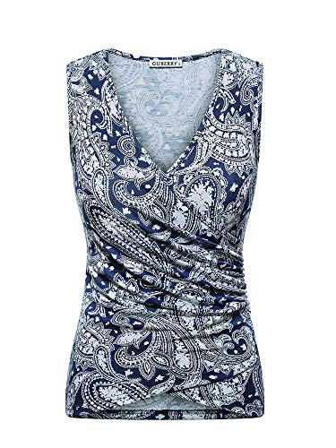 GUBERRY Womens Floral Tank Top Low V Neck Wrap Sleeveless Sexy Cleavage Shirts