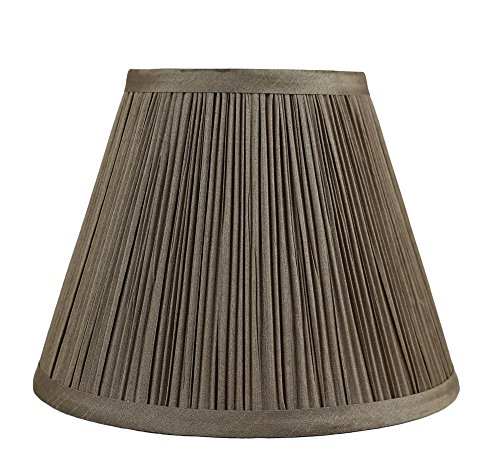 Urbanest Mushroom Pleated Softback Lamp Shade, Faux Silk, 5-inch by 9-inch by 7-inch, Golden Taupe, Spider-Fitter