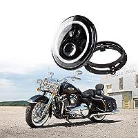 "Xprite 7"" Inch Round 60W 4800 Lumens Hi/Lo Beam Cree LED Headlights w/Halo Ring Angel Eyes DRL & 7"" Black Mounting Bracket For Harley Davidson Motorcycle"