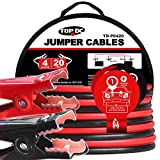TOPDC Jumper Cables 4 Gauge 20 Feet Heavy Duty Booster Cables with Carry Bag (4AWG x 20Ft)