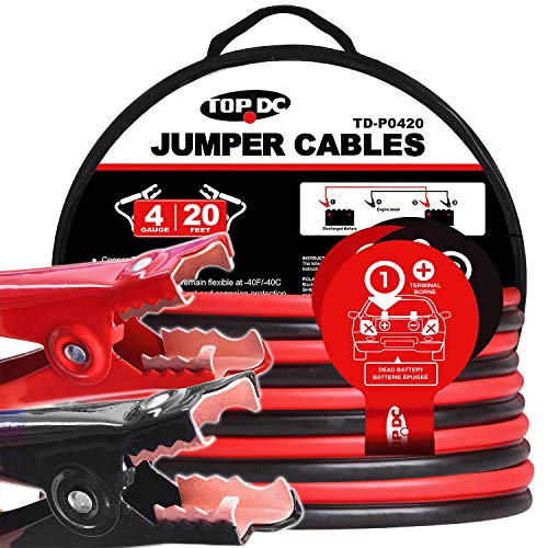 TOPDC Jumper Cables 4 Gauge 20 Feet Heavy Duty Booster Cables with Carry Bag (4AWG x 20Ft) (The Best Jumper Cables)