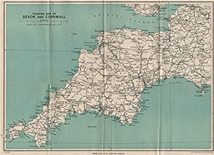 Map Of England Cornwall.Touring Map Of Devon Cornwall South West England Ward Lock
