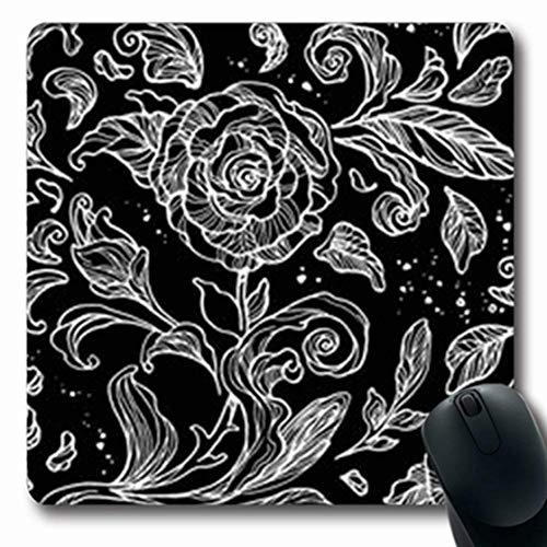 (ArtsDecor Mousepads Flower Floral Leaves Roses Linear Drawn Line Black White Outline Rose Flowers Oblong Shape 7.9 x 9.5 Inches Oblong Gaming Mouse Pad Non-Slip Mouse Mat )