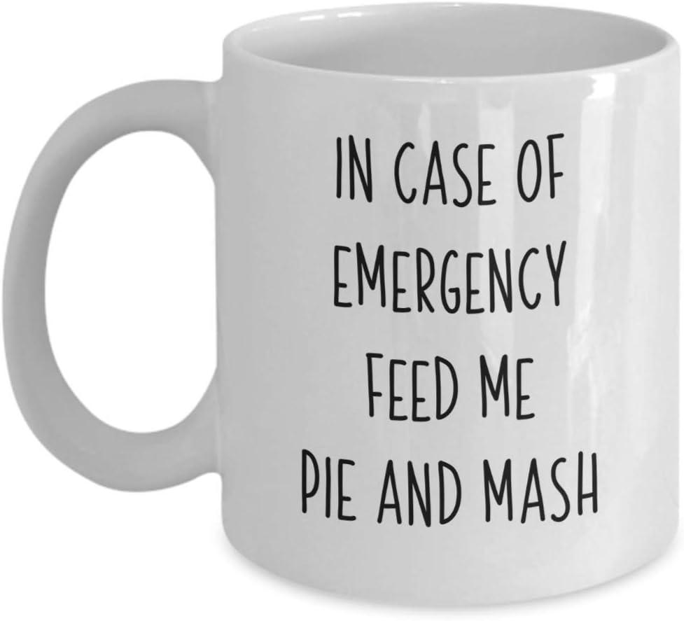 Feed Me Pie And Mash Coffee Mug British Food Lover Tea Cup Foods Friend Gift Foodie Birthday Present