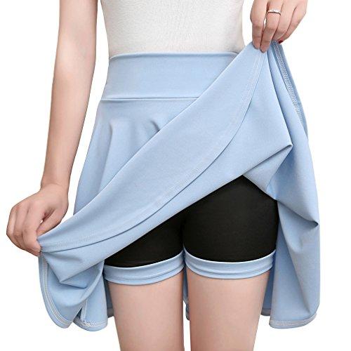 Tailles Courte Taille Haute Court Midi Bleu Jupe Femme Clair Plissée  Patineuse D été Grandes E2IbDYH9eW fad8d71497c