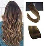 Sunny Clip in Extensions 14 inch Balayage Clip in Hair Extensions Brown Human Hair Balayage color Blonde Mixed Brown Clip in Human Hair 70g One Piece