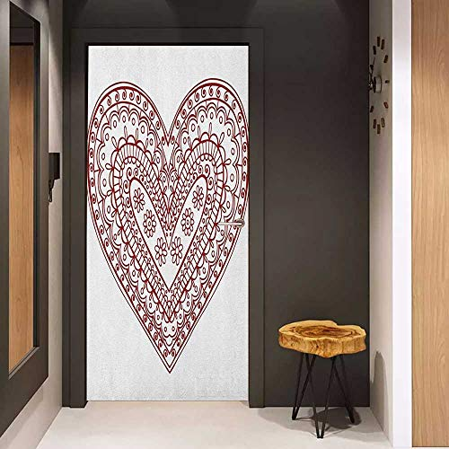 Onefzc Automatic Door Sticker Henna Paisley Doodle in Heart Shapes Little Blossoms Swirls Curves Hippie Sixties Influence Easy-to-Clean, Durable W31 x H79 Ruby White