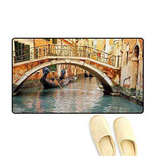Door Mats,Ancient Bridge and Traditional Gondola Canals of Famous Touristic City,Bath Mats for Bathroom,Orange Ivory Bluegrey,16