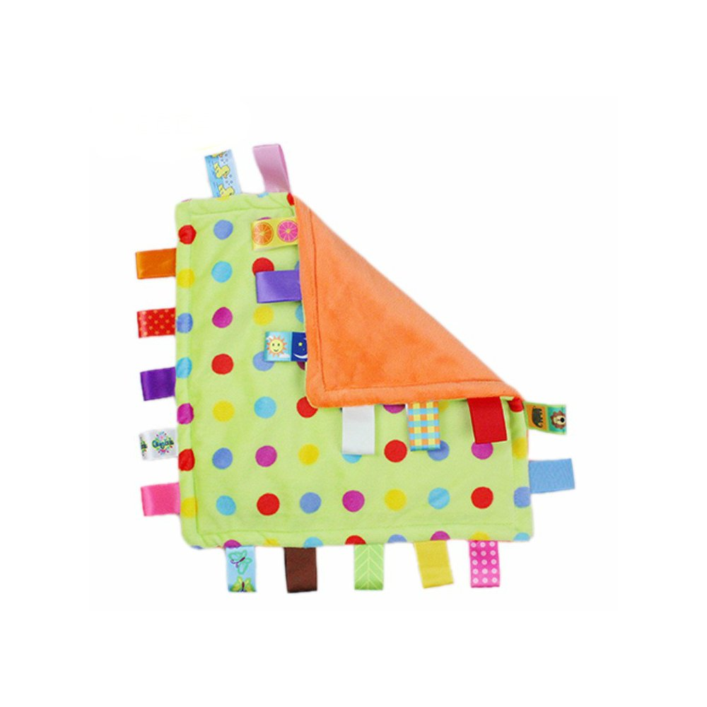 J&C Family Owned Multi Color Polka Dot Taggie Style Super Soft Lovey Baby Blanket