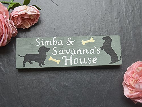 Olga212Patrick Wooden Dog Sign Puppy Kennel Name Wood Sign Plaque Bed Food Bowl Dachshund Sausage Dog Lead Sign Pet Pet Memorial Sign Gift -