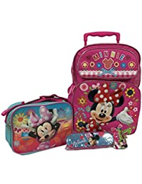 """Minnie Mouse Giant Pretty Bow Large 16"""" Roller Backpack Combo Set"""
