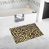 InterestPrint Brown Leopard Fur Pattern, Spotted Animal Print Bath Mat Soft Bathroom Rugs Non-slip Rubber 20 W X 32 L Inches