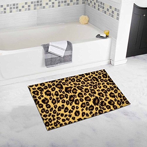 InterestPrint Brown Leopard Fur Pattern, Spotted Animal Print Bath Mat Soft Bathroom Rugs Non-slip Rubber 20 W X 32 L Inches by InterestPrint