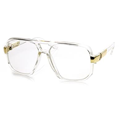 classic square frame plastic clear lens aviator glasses clear