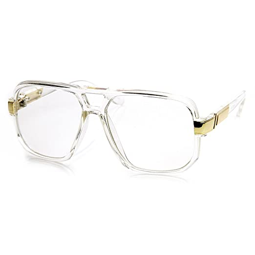 29245c94a Image Unavailable. Image not available for. Color: Classic Square Frame  Plastic Clear Lens Aviator Glasses ...