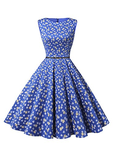 Bbonlinedress 1950s Retro Vintage Swing Rockabilly Floral Party Cocktail Dress Royalblue Leaves XL
