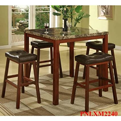 Admirable Roundhill Furniture P5101 5 Piece Sable Artificial Marble Top Counter Height Pub Set With Table And 4 Stools Cherry Pdpeps Interior Chair Design Pdpepsorg