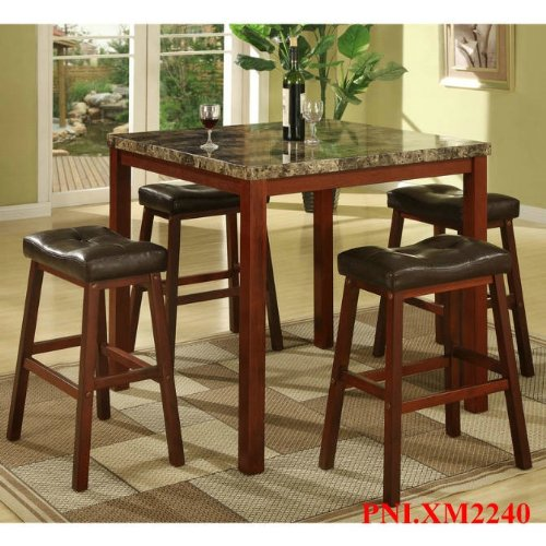 Roundhill Furniture P5101 5-Piece Sable Artificial Marble Top Counter Height Pub Set with Table and 4 Stools -