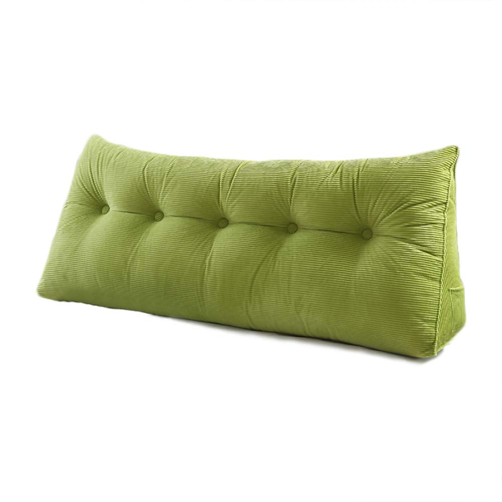 WOWMAX PP-Cotton Filled Triangular Wedge Pillow Positioning Support Reading Backrest Cushion Sofa Bed Day Bed Upholstered Headboard Removable Washable Cover Green 70x7.9x19inch