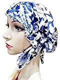 Century Star Women's Silk Satin Night Sleep Cap Lined Soft Bonnet Hat Fashion Print Sleeping Cap C-color