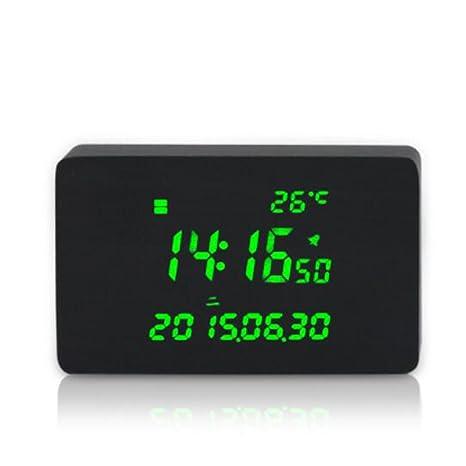 Sdfaw Creative MP3 música madera LED reloj digital ,Madera negra
