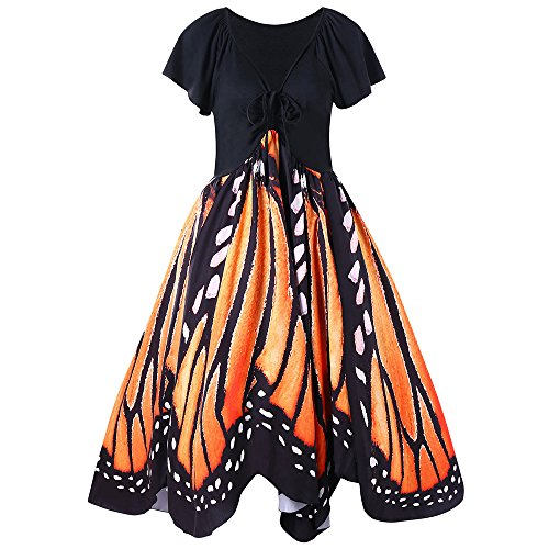 GAMISS Women's Casual Plus Size Dress Butterfly Print Dress Orange - Color Mix Orange
