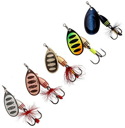 Fishing Spinners Set of 5, Best selections from Mepps, Savage Gear, Blue Fox - Best Lures for Bass, Trout, Salmon, Crappie and Musky Fishing (#3, Silver/Copper/Gold/Firetiger/Black Purple) (Salmon Silver Fishing)