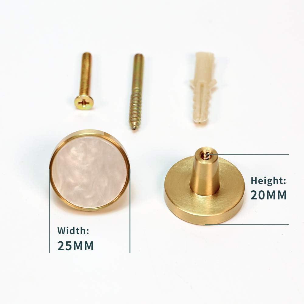 armario armario para armario de cocina tirador de ropa dise/ño de concha dorada armario simple 27 mm Pomos redondos de lat/ón cepillado moderno armario