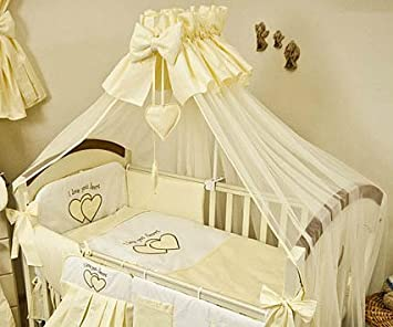8 Piece Baby Bedding Set with Cot Bumper Canopy /& Holder to fit Cot 120x60cm,Love You Heart - Cream Plain