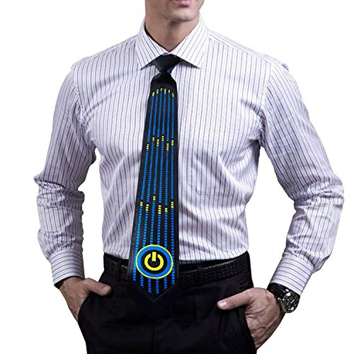 LED Glow Tie, Sound Activated Novelty Tie, Light Up Tie for Rave Party, DJ Bar, Christmas and More