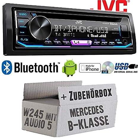 Mercedes B-Klasse W245 Einbauzubeh/ör Android Bluetooth Autoradio Radio JVC KD-R992BT MP3 Multicolor Einbauset USB