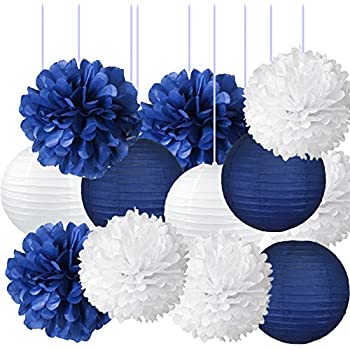 Nautical Party Decor Pom Poms Tissue Paper Lanterns Navy Blue Decorations For Baby Shower Boy Scout Banquet Birthday Party Nursery Decorations Bridal