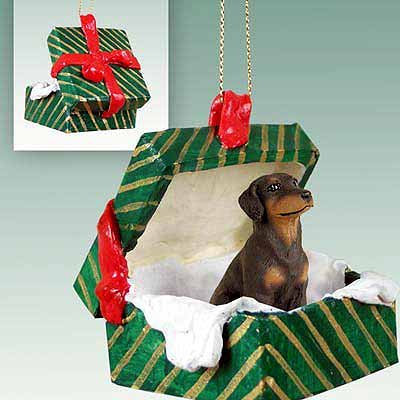 (Doberman Pinscher Green Gift Box Dog Ornament - Uncropped Ears -)