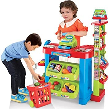 Supermarket Playset Food Stall Kids Role Play Kitchen Game Set Great ...