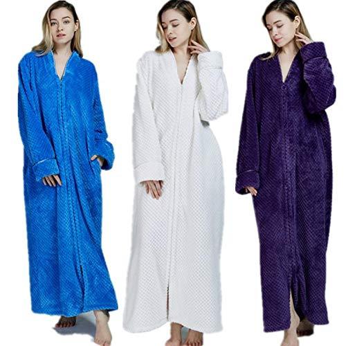 De Tamaño Talla Pijamas Franela Lujo Con Blanco Blanco Albornoz Cremallera Grande Casa Vestido Gss color Baño Entero Bata Cuerpo L wpWwqETAr